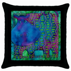 Patterned Hippo Throw Pillow Cases (black)