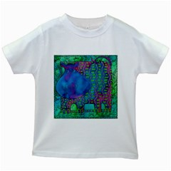 Patterned Hippo Kids White T-Shirts