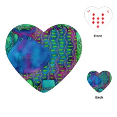 Patterned Hippo Playing Cards (heart)