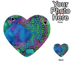 Patterned Hippo Playing Cards 54 (heart)