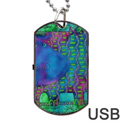 Patterned Hippo Dog Tag USB Flash (Two Sides)