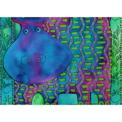 Patterned Hippo Birthday Cake 3D Greeting Card (7x5)
