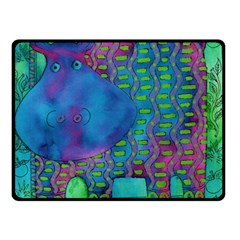 Patterned Hippo Double Sided Fleece Blanket (Small)