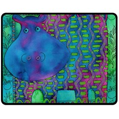 Patterned Hippo Double Sided Fleece Blanket (Medium)