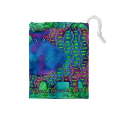 Patterned Hippo Drawstring Pouches (Medium)