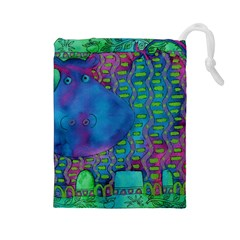 Patterned Hippo Drawstring Pouches (Large)