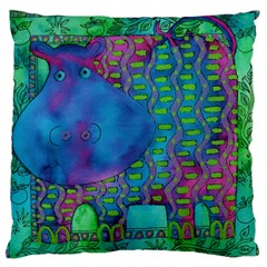 Patterned Hippo Large Flano Cushion Cases (one Side)