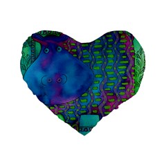 Patterned Hippo Standard 16  Premium Flano Heart Shape Cushions