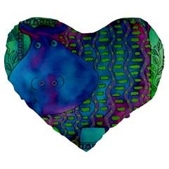 Patterned Hippo Large 19  Premium Flano Heart Shape Cushions