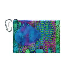 Patterned Hippo Canvas Cosmetic Bag (m)