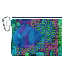 Patterned Hippo Canvas Cosmetic Bag (L)