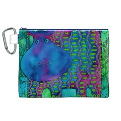 Patterned Hippo Canvas Cosmetic Bag (XL)