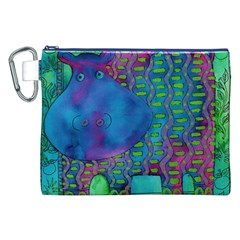 Patterned Hippo Canvas Cosmetic Bag (XXL)