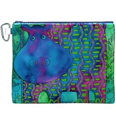 Patterned Hippo Canvas Cosmetic Bag (XXXL)