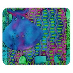 Patterned Hippo Double Sided Flano Blanket (Small)