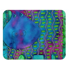 Patterned Hippo Double Sided Flano Blanket (Large)