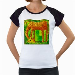 Patterned Giraffe  Women s Cap Sleeve T