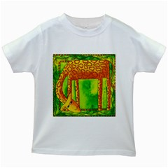 Patterned Giraffe  Kids White T-Shirts