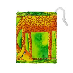 Patterned Giraffe  Drawstring Pouches (large)