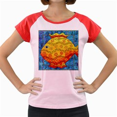 Patterned Fish Women s Cap Sleeve T-Shirt