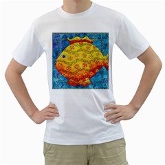 Patterned Fish Men s T-Shirt (White) (Two Sided)