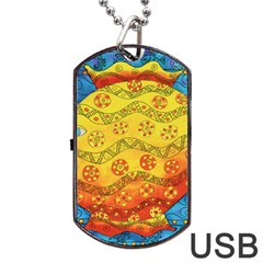 Patterned Fish Dog Tag USB Flash (One Side)