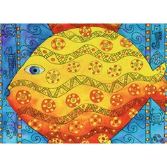 Patterned Fish Birthday Cake 3D Greeting Card (7x5)