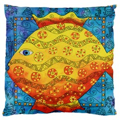 Patterned Fish Large Flano Cushion Cases (One Side)