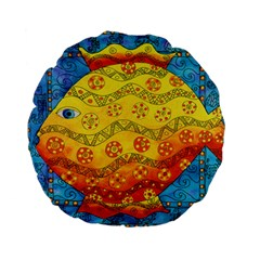 Patterned Fish Standard 15  Premium Flano Round Cushions