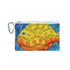 Patterned Fish Canvas Cosmetic Bag (S)