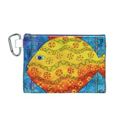 Patterned Fish Canvas Cosmetic Bag (M)