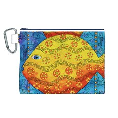 Patterned Fish Canvas Cosmetic Bag (L)