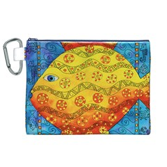 Patterned Fish Canvas Cosmetic Bag (XL)