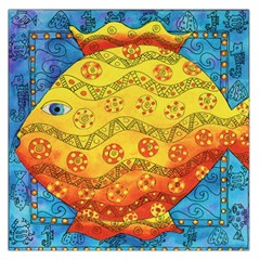 Patterned Fish Large Satin Scarf (Square)