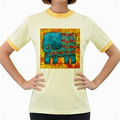 Patterned Elephant Women s Fitted Ringer T-Shirts
