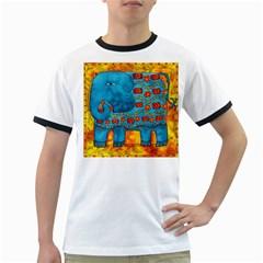 Patterned Elephant Ringer T Shirts