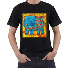 Patterned Elephant Men s T Shirt (black) (two Sided)