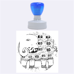 Patterned Elephant Rubber Round Stamps (Large)