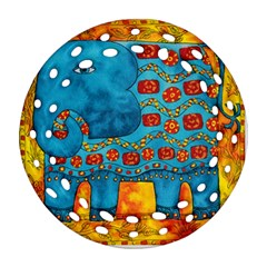 Patterned Elephant Ornament (Round Filigree)