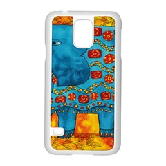 Patterned Elephant Samsung Galaxy S5 Case (White)