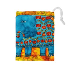 Patterned Elephant Drawstring Pouches (large)
