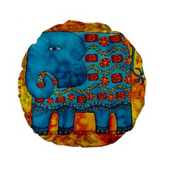 Patterned Elephant Standard 15  Premium Flano Round Cushions