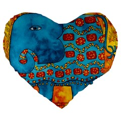 Patterned Elephant Large 19  Premium Flano Heart Shape Cushions