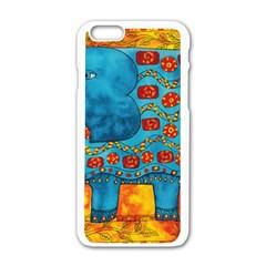 Patterned Elephant Apple Iphone 6 White Enamel Case