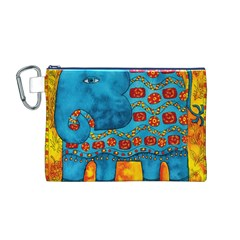 Patterned Elephant Canvas Cosmetic Bag (M)