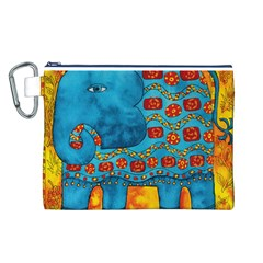 Patterned Elephant Canvas Cosmetic Bag (L)