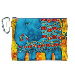Patterned Elephant Canvas Cosmetic Bag (XL)