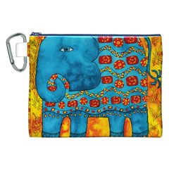 Patterned Elephant Canvas Cosmetic Bag (xxl)