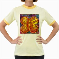 Patterned Butterfly Women s Fitted Ringer T-Shirts