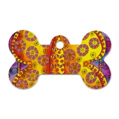 Patterned Butterfly Dog Tag Bone (two Sides)